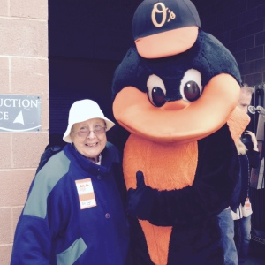 My mom with the Oriole Bird.